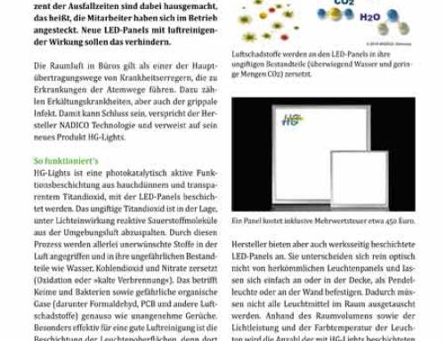 """Bericht über HG-Lights im Office Magazin """"alex"""""""